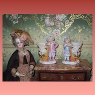 SALE! Superb Pair of Miniature Victorian Porcelain Boy and Girl Figural Match Safes!