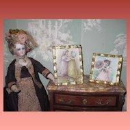 SWEET Pair of Vintage Brass Frames with Victorian Children Postcards!