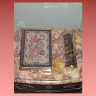 ELABORATE Vintage Genuine Handmade Petit Point Compact with Accessories!