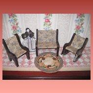 CHARMING Vintage Miniature 3 Piece Parlor Dollhouse Furniture Set