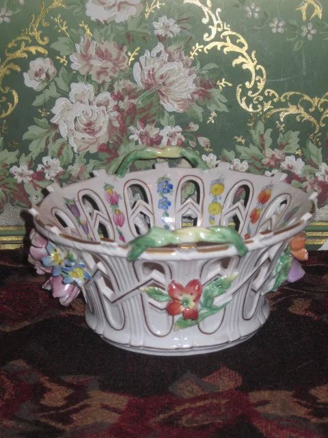 Superb Miniature German Dresden Hand Painted Floral
