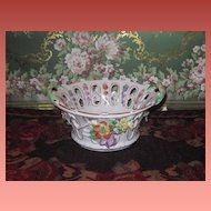 SUPERB Miniature German Dresden Hand Painted Floral Porcelain Bowl