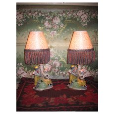 SWEET Miniature Pair of Vintage German Porcelain Figural Table Lamps