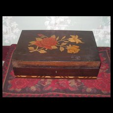 EXQUISITE Old English Wooden Inlaid Trinket Box - Red Tag Sale Item
