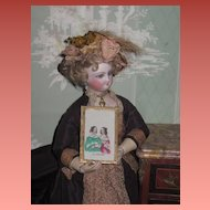 SALE! Early Miniature Hand Tinted French Litho Dollhouse Picture of Fashion Ladies