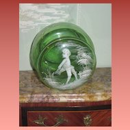 SALE! Lovely Old Mary Gregory Green Glass Powder Jar~AS FOUND