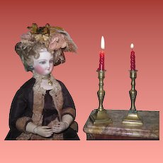 SUPERB Pair of Old Miniature Brass Candlesticks for Fashion Dolls!