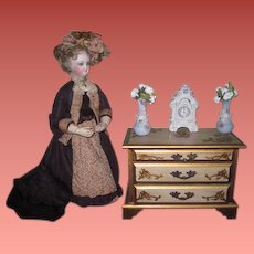 CHARMING Miniature Vintage Florentine Musical French Fashion Doll Chest!