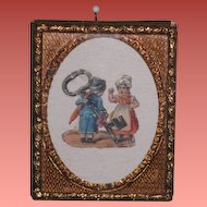 SWEET Miniature Victorian German Die Cut Dollhouse Picture with ORMOLU Frame!