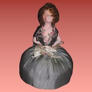 UNIQUE A/O German Painted Bisque Flapper Pincushion Half Doll!