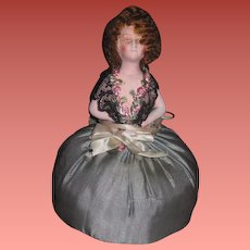 UNIQUE A/O German Painted Bisque Flapper Pincushion Half Doll!