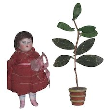 CHARMING HTF Circa 1930's Vintage Miniature German Dollhouse Potted Plant!