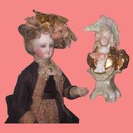 QUALITY Antique Miniature Porcelain Figural French Gentleman Pedestal Bust!