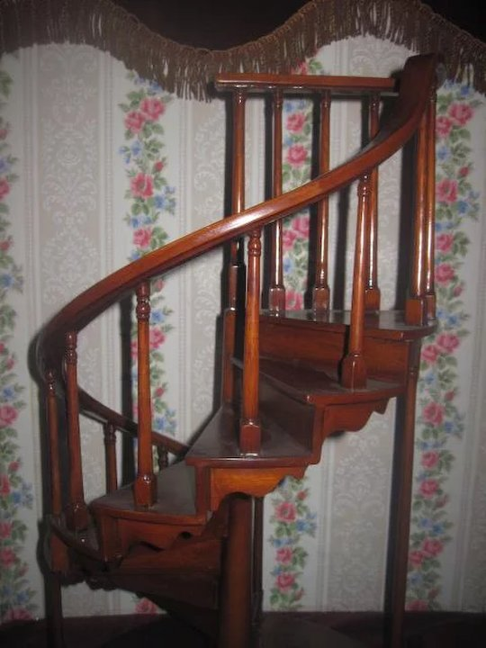 SUPERB Vintage Miniature Wooden Spiral Staircase For DOLL DISPLAY!