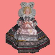 Charming All Original Circa 1930's French Celluloid Brittany Doll in ELABORATE Costume!