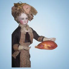 QUALITY Rare Antique Miniature German Candy Container Turkey on Silver Plated Meat Platter for FASHION DOLLS!