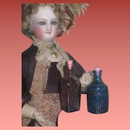 PETITE PAIR Of Colorful Vintage Miniature Decanter Glass Bottles for FASHION DOLL Display!