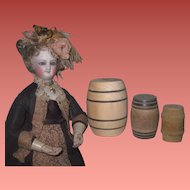 UNIQUE Set of 3 Vintage Quality Miniature Wooden Barrels for Doll Display!