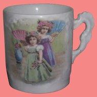 CHARMING Miniature Antique Porcelain Portrait Cup of LITTLE SISTERS!