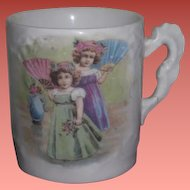 CHARMING Miniature Antique Porcelain Portrait Cup of LITTLE SISTERS!