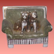 UNIQUE Antique German Miniature Porcelain Cat & Dog on Settee Victorian CAKE TOPPER!