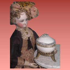 """EXQUISITE Signed Vintage Miniature """"Jeweled"""" Real Egg Footed Vitrine/Box for DOLL DISPLAY~1 of 2!"""