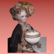 "EXQUISITE Signed Vintage Miniature ""Jeweled"" Real Egg Footed Vitrine/Box for DOLL DISPLAY~1 of 2!"