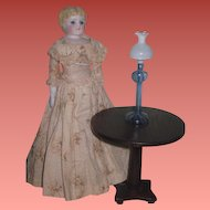 CHARMING Antique Miniature Wooden Pedestal Table for Fashion Doll or Large Scale Dollhouse!