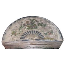 CHARMING Novelty Antique Hand Painted Silk Fan Shape Chocolate Box for DOLL DISPLAY!