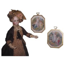 """CHARMING Pair of HTF Vintage Miniature """"Porcelite"""" Pictures for your French FASHION DOLL Salon! - Red Tag Sale Item"""
