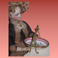 RARE Fancy Antique French Limoges Hand Painted Porcelain/Bronze Miniature Fashion Doll Bridal Basket!