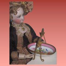 RARE Fancy Antique French Limoges Hand Painted Porcelain/Bronze Miniature Fashion Doll Bridal Basket!