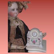 FANCY Vintage Miniature Toy Porcelain Mantel Clock for FASHION DOLLS!