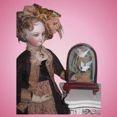 CHARMING Vintage Miniature Glass Bird Vignette for FASHION DOLL Display!