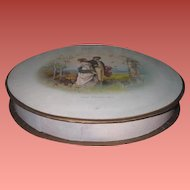 CHARMING HTF Large Size Antique Round Lithograph Chocolate Box for DOLL DISPLAY!