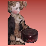 BEAUTIFUL Antique Miniature Bohemian Ruby Glass Powder Jar for ANTIQUE DOLLS!