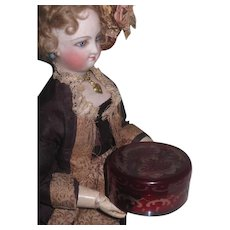 BEAUTIFUL Antique Miniature Bohemian Ruby Glass Powder Jar for ANTIQUE DOLLS! - Red Tag Sale Item