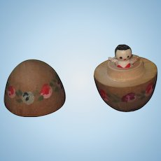CHARMING Vintage Miniature Hand Painted Wooden Egg with TINY Wooden Doll~1 of 2!