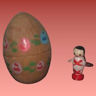 CHARMING Vintage Miniature Hand Painted Wooden Egg with TINY Wooden Doll~2 of 2!
