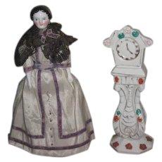 FEMININE Fancy Vintage Hand Painted Miniature Porcelain Grandmother Clock for your MIGNONETTE!