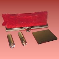 "GLAMOROUS and UNUSED Vintage Red Velvet Evening Clutch Purse with Original ""JEWELED"" Accessories!"
