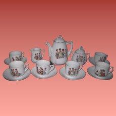 RARE and Complete Set for 6 Antique German Porcelain Tea Set with VICTORIAN CHILDREN Motif!