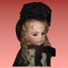 EXQUISITE Antique Victorian Couture Velvet & Glass Jet Beaded Bonnet For Your BEBE!