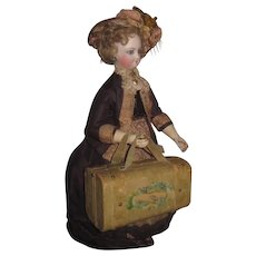SALE!  Hard to Find Antique VicTorian Miniature Sewing Etui/Valise for FASHION DOLL Display!