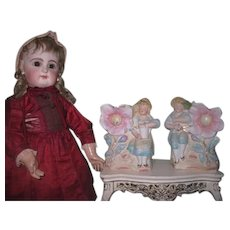 CHARMING Pair of Antique Miniature Porcelain Figural Vases for DOLL DISPLAY!