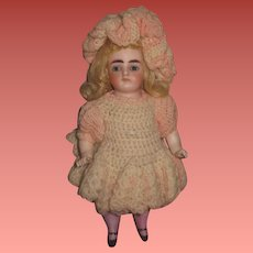 "SALE! Magnificent Large A/O Antique 8"" All Bisque German Kestner Girl Doll with Fancy Crochet Outfit and PINK STOCKINGS!"