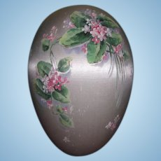 MAGNIFICENT Large Antique Old Store Stock Hand Painted Silk Candy Container Easter Egg for DOLL DISPLAY!