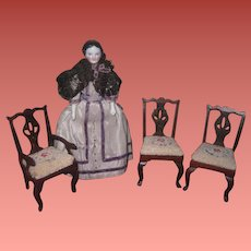 SUPERB Set of 3 Vintage Artist Miniature Dollhouse Chippendale Chairs with Needlepoint Seats!