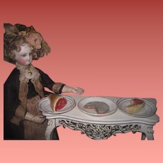 TASTY TRIO of 3 Antique Hand Painted Composition Miniature Fashion Doll Foods on Porcelain Plates!