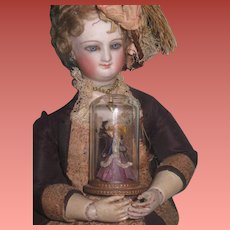 RARE and COVETED Vintage Elaine Cannon Miniature Victorian Lady Under Glass Dome!